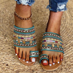 Women's Fabric Flat Heel Sandals Slippers With Beading shoes