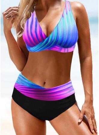 Cross Gradient Strap V-Neck Sexy Bikinis Swimsuits