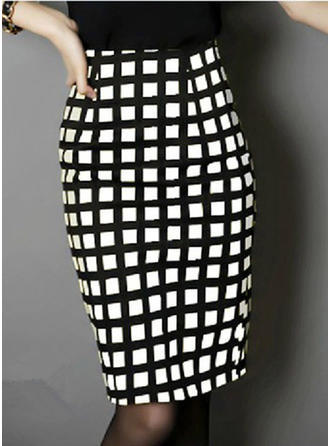 Woollen Plaid Knee Length Pencil Skirts Bodycon Skirts