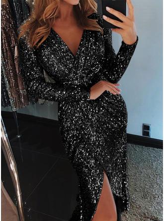 Sequins Long Sleeves Sheath Knee Length Party/Elegant Dresses