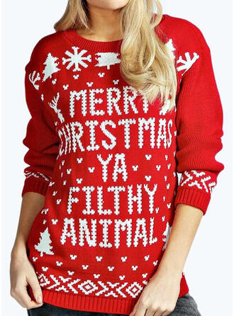Dames Polyester Print Letter Lelijke kerstsweater