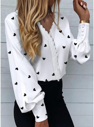 Print Lace Heart V-Neck Long Sleeves Button Up Elegant Shirt Blouses