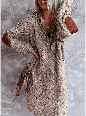 Solide V-hals Casual Lang Sweaterjurk