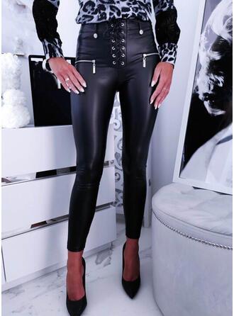 Solid PU Long Plus Size Office/Business Pocket Lace Up Button Pants