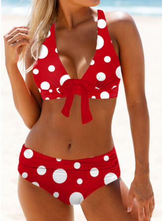 Dot Knotted Strap V-Neck Sexy Cute Bikinis Swimsuits