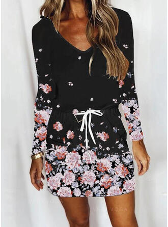 Print/Floral Long Sleeves Sheath Above Knee Casual Dresses