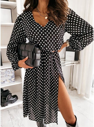 PolkaDot Long Sleeves A-line Knee Length Elegant Skater Dresses