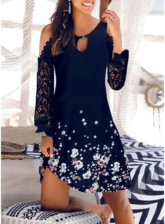 Lace/Print/Floral Long Sleeves Shift Above Knee Casual/Vacation Tunic Dresses