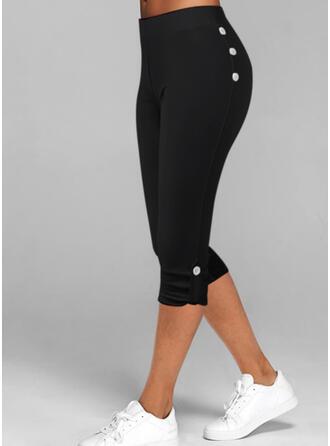 Solid Capris Casual Plus Size Button Pants Leggings
