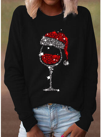 Pailletten Ronde Hals Lange Mouwen Casual Kerstmis T-shirts
