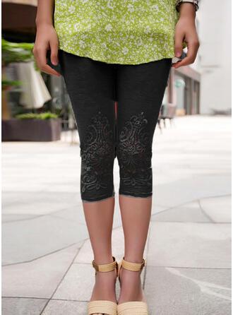 Solid Lace Capris Pants Leggings