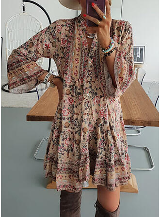 Print 3/4 Sleeves/Flare Sleeves Shift Above Knee Casual/Vacation Tunic Dresses