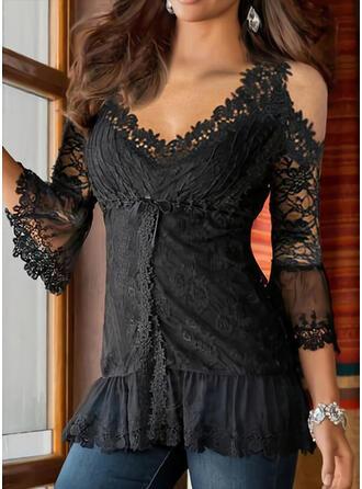 Solid Lace Cold Shoulder 3/4 Sleeves Elegant Blouses
