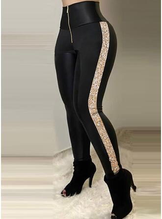 Print Sequins Long Casual Pants