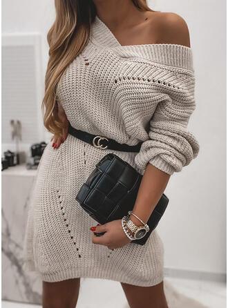 Solide V-hals Casual Sweaterjurk
