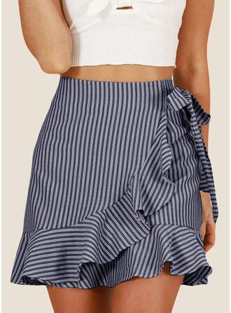 Polyester Striped Mini Flared Skirts