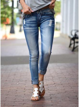 Shirred Grote maat Gescheurd Lang Elegant Sexy Spijkerbroek