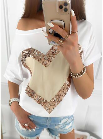Heart Print Sequins One Shoulder Short Sleeves T-shirts