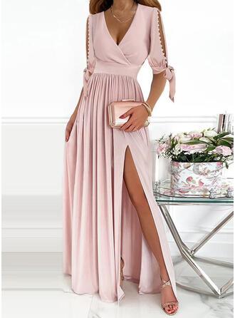 Solid 1/2 Sleeves Cold Shoulder Sleeve A-line Skater Party/Elegant Maxi Dresses