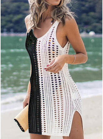 Splice color Hollow Out V-Neck Classic Eye-catching Cover-ups Swimsuits