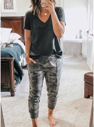 Camouflage Drawstring Casual Print Suits