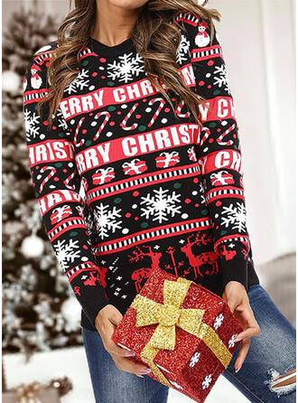 Women's Print Reindeer Letter PolkaDot Ugly Christmas Sweater