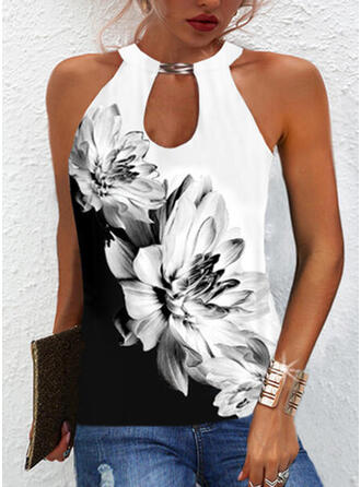 Color Block Floral Print Halter Sleeveless Tank Tops