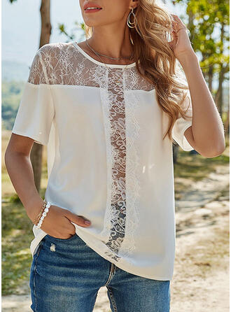 Lace Solid Round Neck Short Sleeves T-shirts