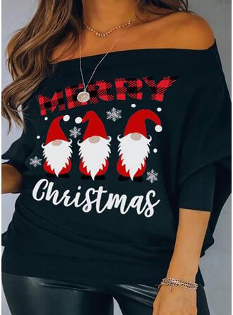 Print Off the Shoulder Vleermuis Mouw Lange Mouwen Kerstmis Overhemd