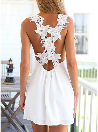 Solid Sleeveless Shift Above Knee Sexy/Casual/Vacation Tank Dresses