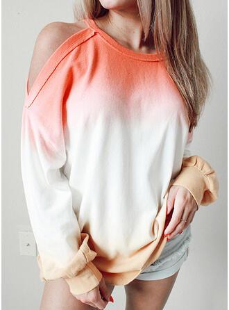 Tie dye kleurstof Koude schouder Lange Mouwen Sweatshirts