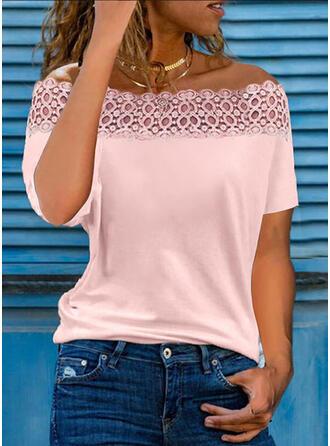 Solid Lace Off the Shoulder Short Sleeves Elegant Blouses