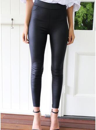 Solide Shirred Elegant Sexy Broeken Leggings