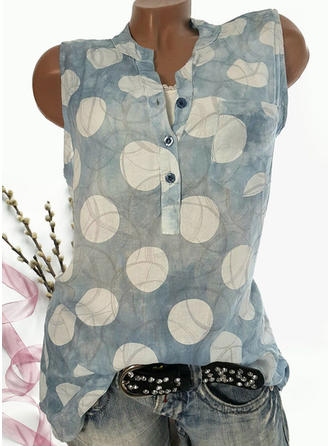 Print V-hals Mouwloos Dichtknopen Casual Blouses