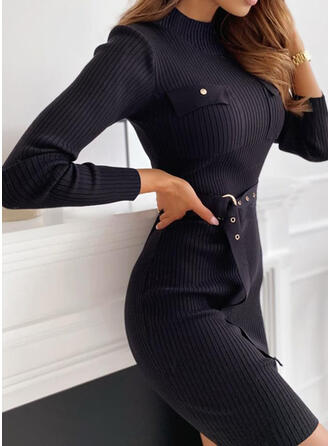 Solid Crew Neck Casual Long Tight Sweater Dress