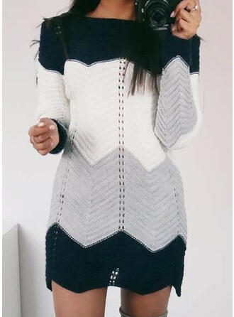 Color Block Boat Neck Casual Long Sweater Dress