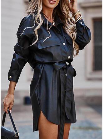 Solide Lange Mouwen Koker Boven de knie Zwart jurkje/Casual Shirt Jurken
