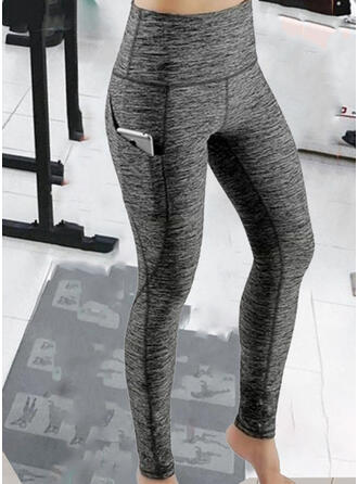 Solid Long Sexy Sporty Pocket Pants Leggings