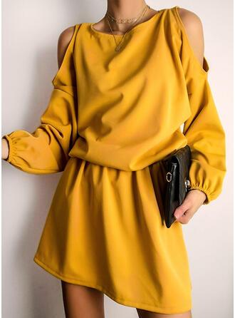 Solide Lange Mouwen/Cold Shoulder Mouw A-lijn Boven de knie Zwart jurkje/Casual Schaatser Jurken