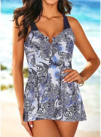 Print Strap V-Neck Elegant Casual Swimdresses Swimsuits