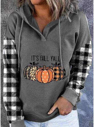 Halloween Print Leopard Plaid Letter Long Sleeves Hoodie