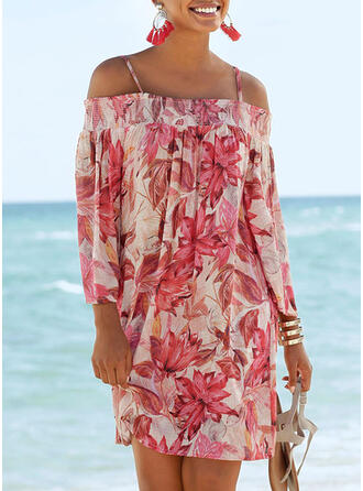 Print/Floral 3/4 Sleeves Shift Above Knee Casual/Vacation Tunic Dresses