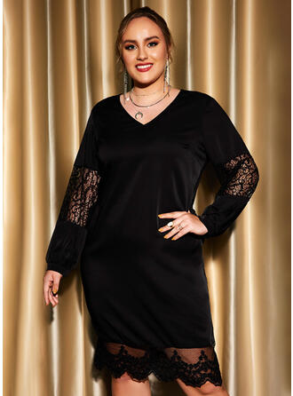 Solid Lace Long Sleeves Sheath Knee Length Little Black/Party/Plus Size Dresses