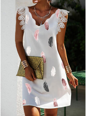 Print Lace Short Sleeves Small Flying Sleeve Shift Above Knee Casual Tunic Dresses