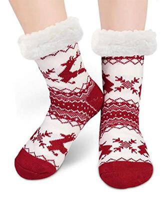 Print/Christmas Reindeer Warm/Christmas/Crew Socks/Non Slip/Unisex Socks