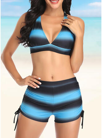 Stripe Drawstring Ruffles Knotted Cross V-Neck Attractive Casual Tankinis Swimsuits