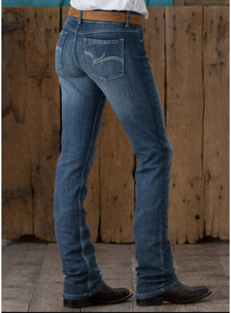 Shirred Plus Size Elegant Vintage Denim & Jeans