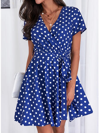 Print/PolkaDot Short Sleeves A-line Knee Length Casual Wrap/Skater Dresses