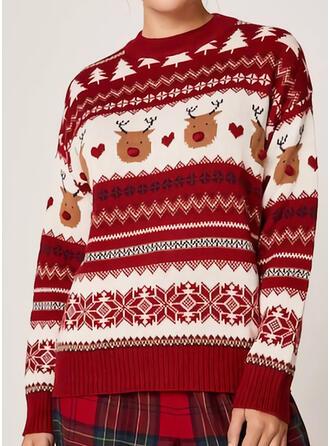 Dames Polyester Print Rendier Lelijke kerstsweater