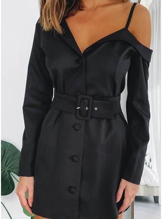 Solide Lange Mouwen Koker Boven de knie Zwart jurkje/Sexy Jurken